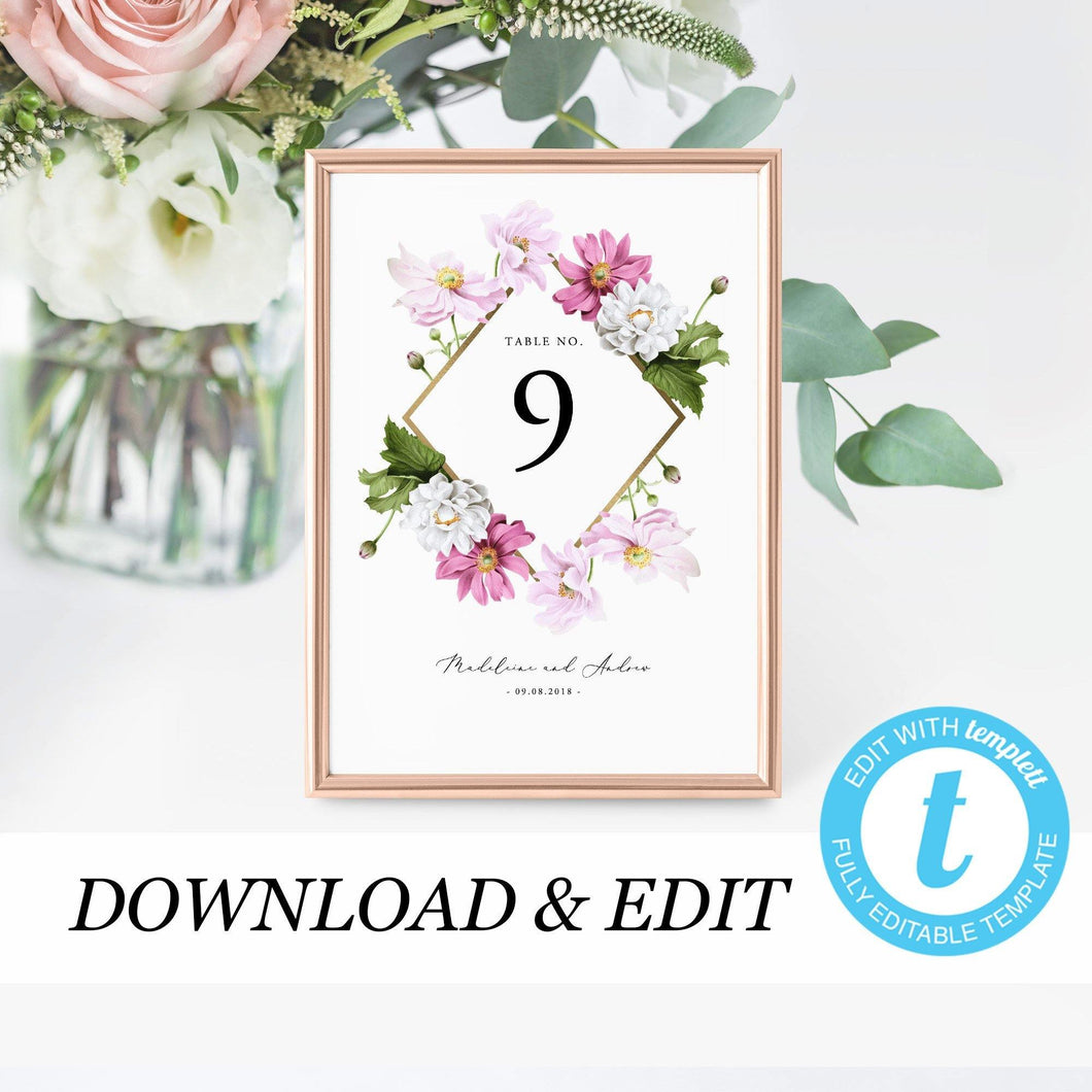 Floral Table Numbers - Pearly Paper