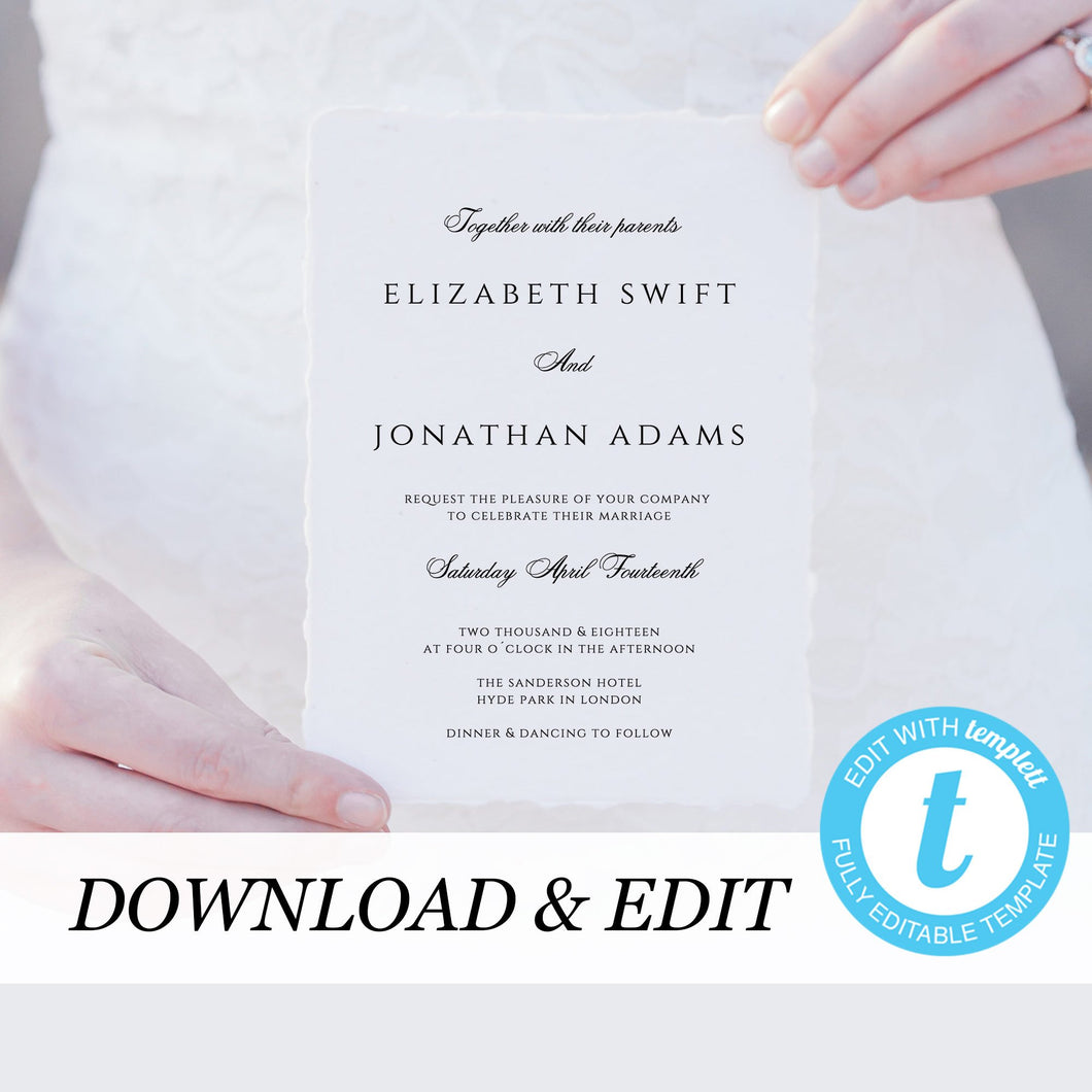 Marsala Wedding invitation template - Pearly Paper