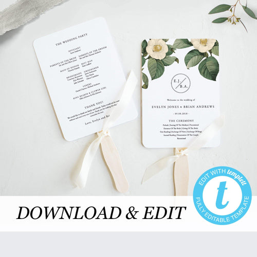 Greenery Wedding Ceremony Program Fan - Pearly Paper