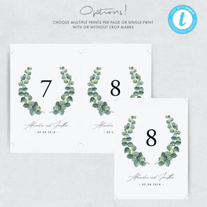 Eucalyptus Table Numbers - Pearly Paper