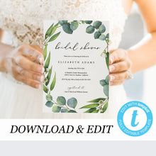 Load image into Gallery viewer, Eucalyptus Bridal Shower Invitation - Pearly Paper