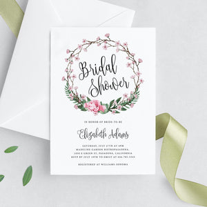 Floral Wreath Bridal Shower Invite - Pearly Paper