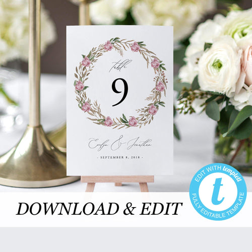 Table Numbers Floral Wreath - Pearly Paper