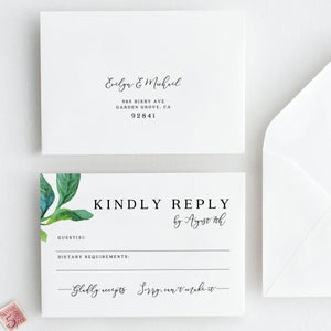 Greenery RSVP card Template RSVP - Pearly Paper