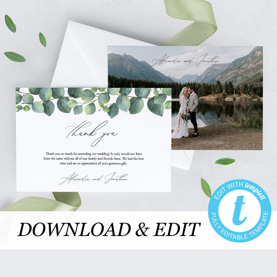 Eucalyptus Wedding Thank You Photo Card - Pearly Paper