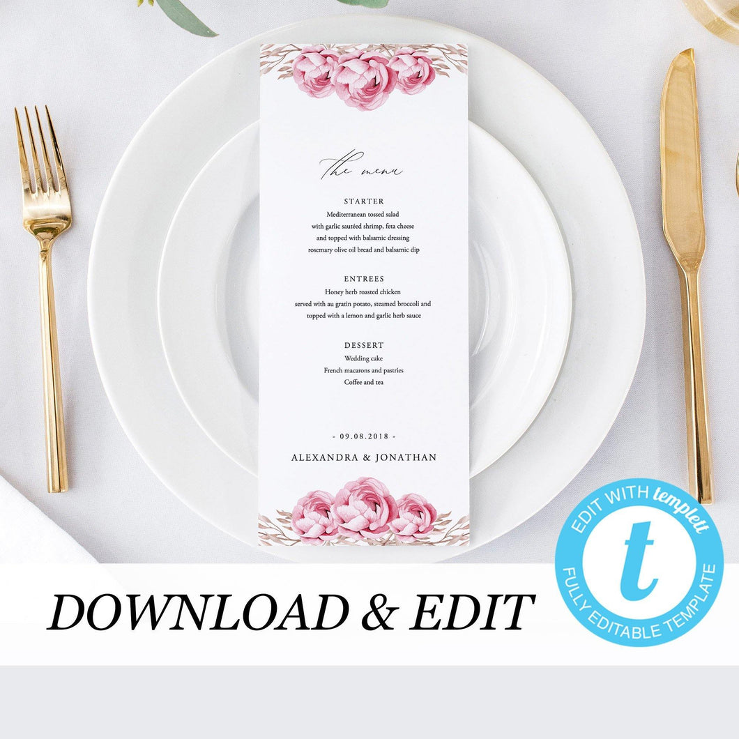 Printable Wedding Menu Greenery Wedding - Pearly Paper