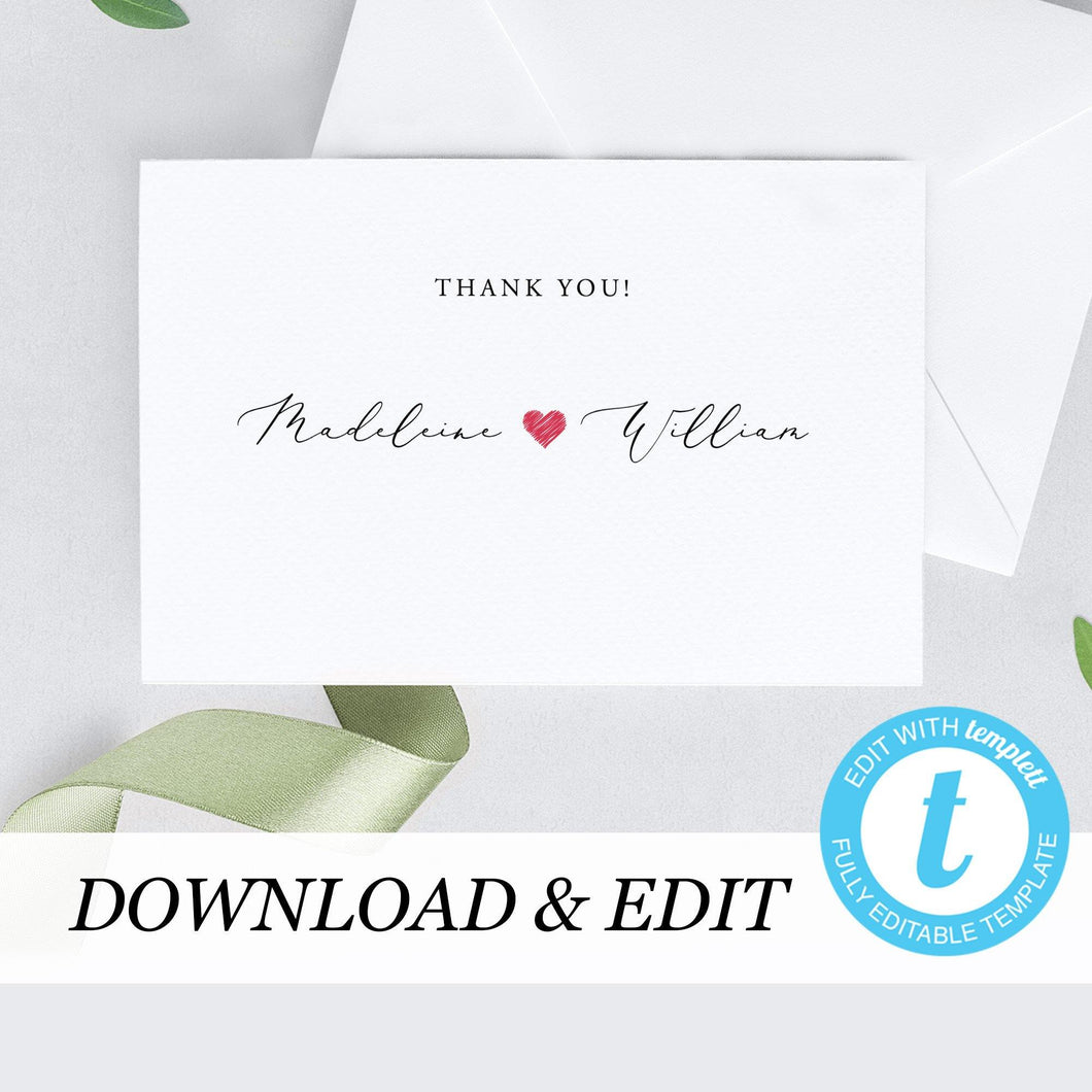 Wedding Thank You Card - Pearly Paper