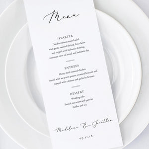 Wedding Menu Simple - Pearly Paper