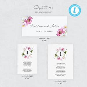 Floral Seating Chart cards - Pearly Paper