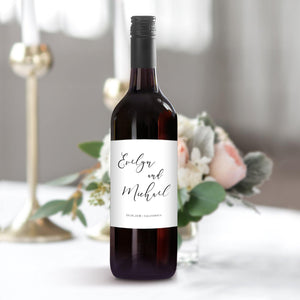 Wedding Label Wine Bottle Label - Pearly Paper