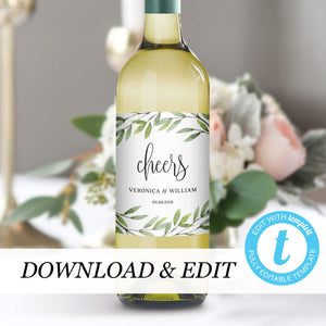 Greenery Wedding Wine Bottle Label - Pearly Paper