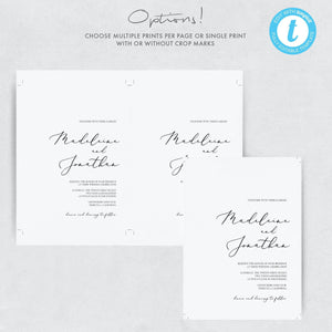 Wedding Menu Place Cards - Pearly Paper