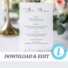 Load image into Gallery viewer, Printable Wedding Bar Menu - Pearly Paper