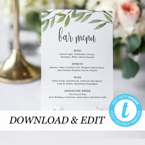 Greenery Wedding Bar Menu - Pearly Paper