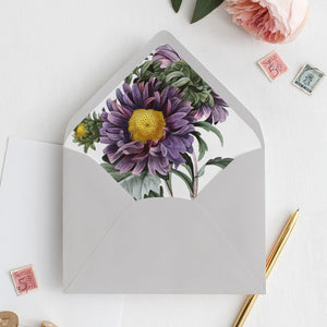 Purple Floral Envelope Liner - Pearly Paper