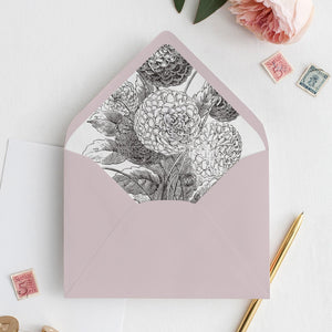 Black white Floral Envelope Liner - Pearly Paper