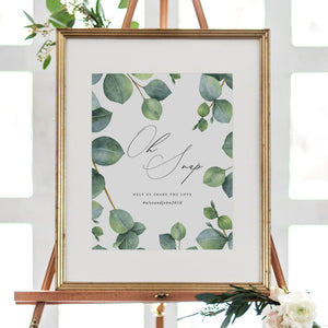 Oh Snap Wedding Sign Template - Pearly Paper