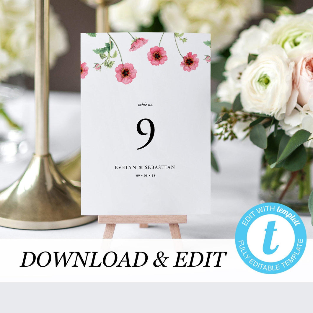 Pink Floral Table Number Card - Pearly Paper