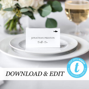 Place Cards Flat with meal icon - Pearly Paper
