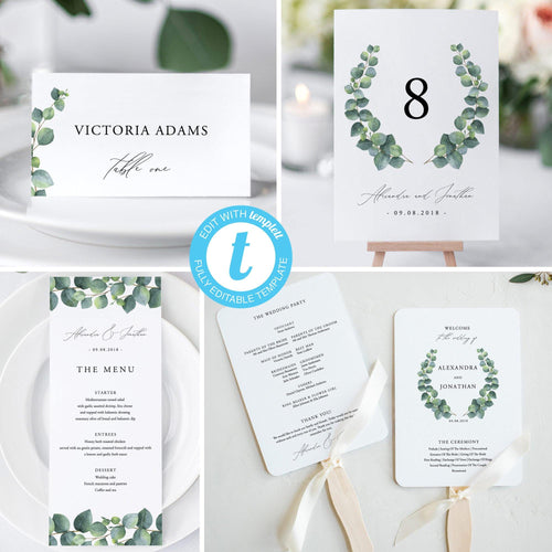 Editable Wedding Bundle Template, Eucalyptus - Pearly Paper