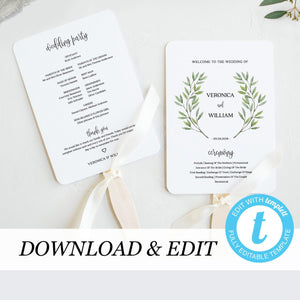 Wedding program Fan Greenery - Pearly Paper