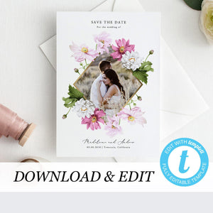 Floral Photo Save the Date Invite - Pearly Paper