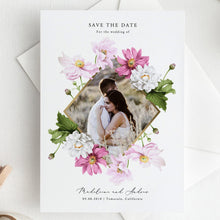 Load image into Gallery viewer, Floral Photo Save the Date Invite - Pearly Paper