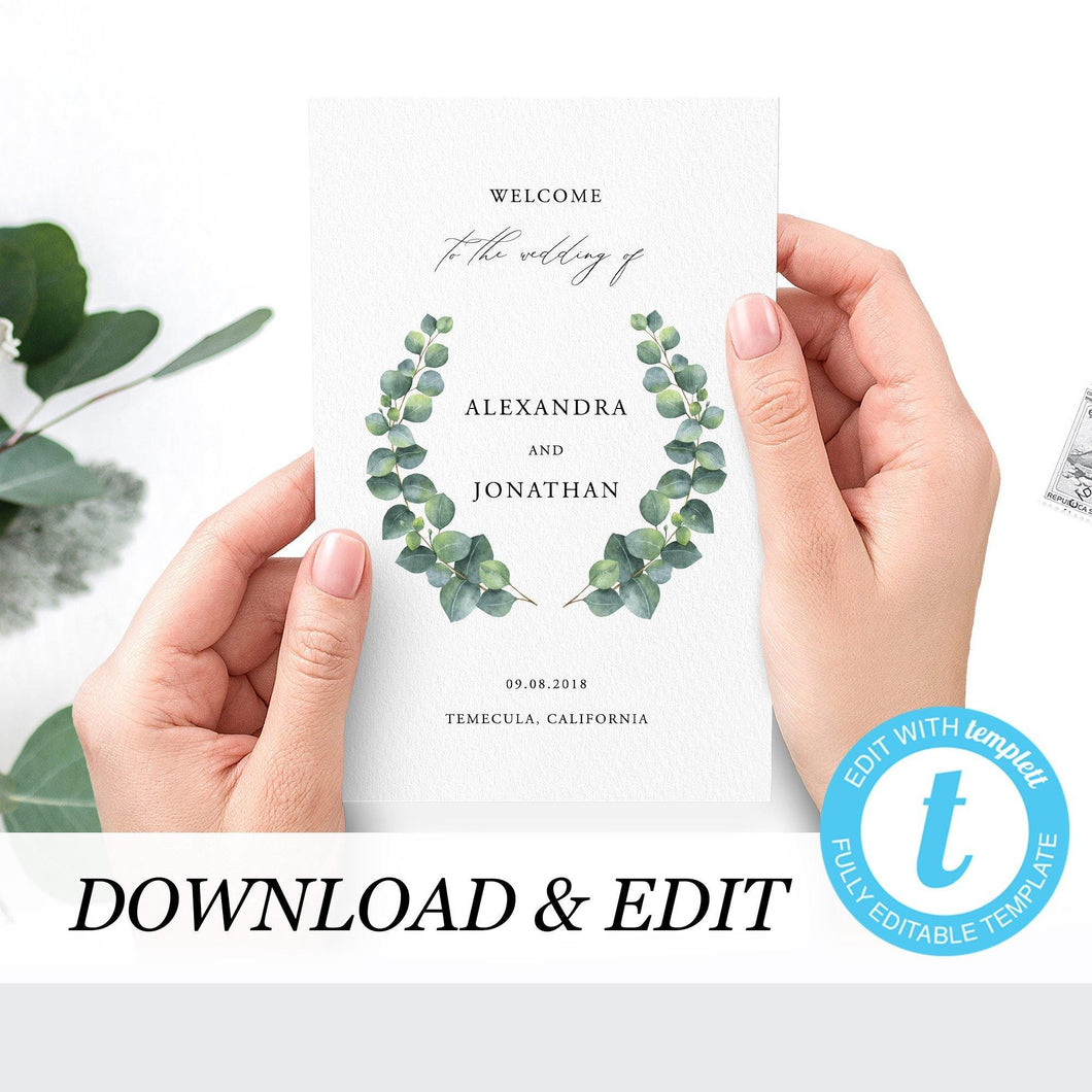Eucalyptus Wedding ceremony Booklet - Pearly Paper