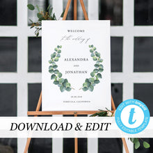 Load image into Gallery viewer, Eucalyptus Wedding Welcome Sign Template - Pearly Paper