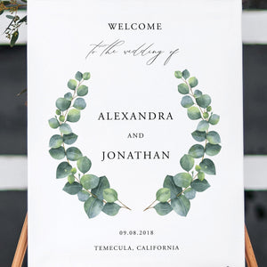 Eucalyptus Wedding Welcome Sign Template - Pearly Paper