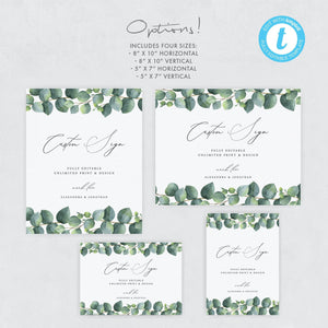 Custom Wedding Sign Template Eucalyptus - Pearly Paper