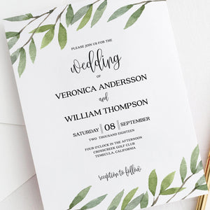 Wedding invitation template Greenery Wedding - Pearly Paper