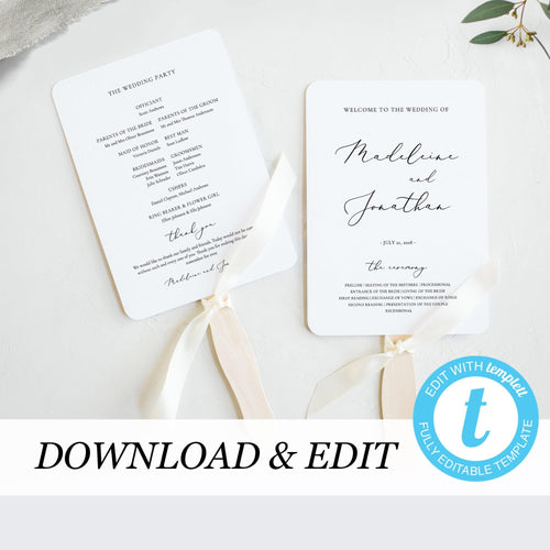 Elegant Wedding Ceremony program - Pearly Paper