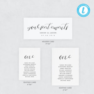 Wedding Seating Chart Cards Simple - Pearly Paper