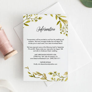 Greenery Details card Template Woodland, - Pearly Paper