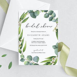 Eucalyptus Bridal Shower Invitation - Pearly Paper