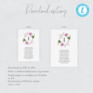 Table Number Seating Chart Cards Floral - Pearly Paper