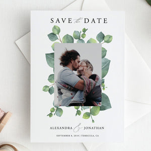 Greenery Save the Date Invite - Pearly Paper