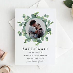 Eucalyptus Save the Date Invite - Pearly Paper