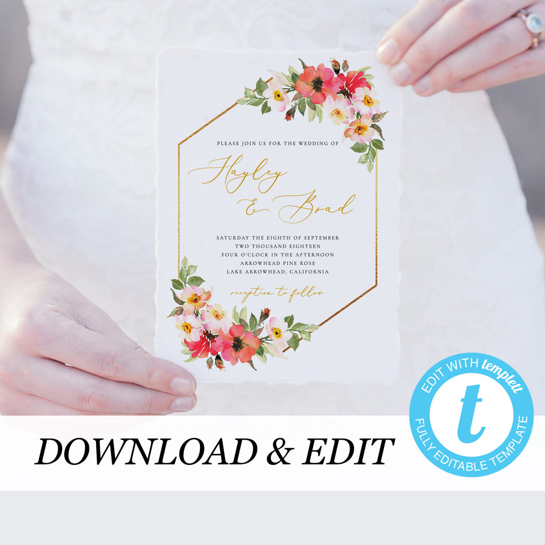 Floral wedding invitation template Gold - Pearly Paper