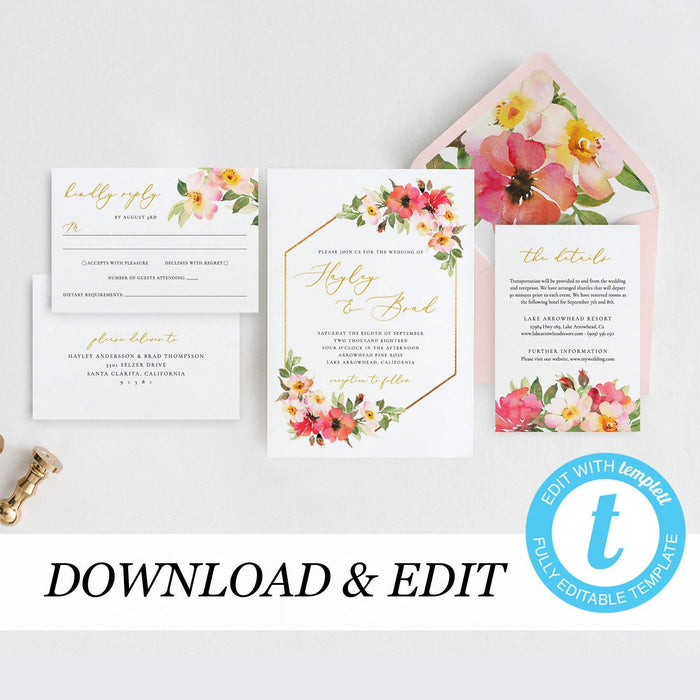 Blush wedding invitation template Gold - Pearly Paper