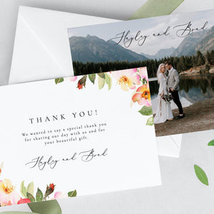 Floral wedding Thank you photo - Pearly Paper