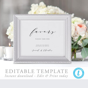 Editable Wedding Favors Sign Template - Pearly Paper