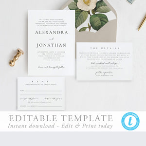 Wedding Invitation Printable Invitation Template - Pearly Paper