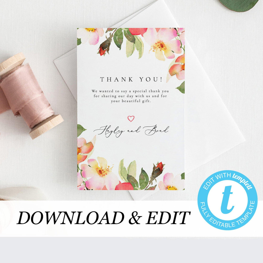 Blush Floral Wedding Thank You Card - Pearly Paper