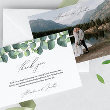 Load image into Gallery viewer, Eucalyptus Wedding Thank You Photo Card - Pearly Paper
