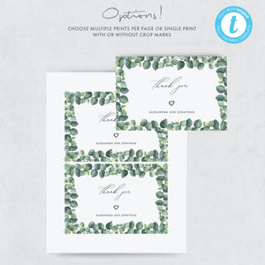 Eucalyptus Wedding Thank You Card - Pearly Paper
