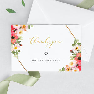Floral Wedding Thank You Note - Pearly Paper