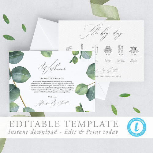 Eucalyptus Wedding Day Timeline - Pearly Paper