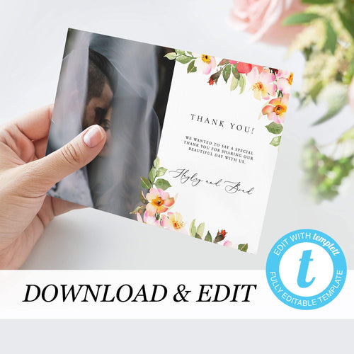 Floral Wedding Thank You Photo Card - Pearly Paper